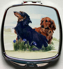 DACHSHUND LONG HAIRED DOG HANDBAG COMPACT MIRROR WATERCOLOUR PRINT SANDRA COEN