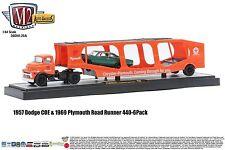 1:64 M2 Machines AUTO-HAULERS R20A 1957 Dodge COE Semi Car Carrier w/Road Runner