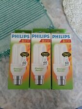 3 X Philips Energy Saver 60 Watt Light Bulbs - 2 pin