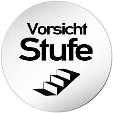 "Aluminium Schild 10 cm Ø ""Vorsicht Stufe"" Türschild • Tür • Wand • Alu • Privat"