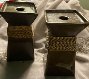 Set Of Two Party Lite Brown Ceramic Pillar Candleholders Twine Accent