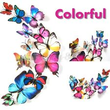 12pcs 3D DIY Butterfly Magnet Design Decal Wall Art Stickers Room Home Decors-US