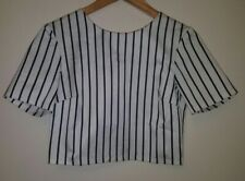 asos striped cropped zip back top size 10