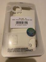 🤩 coque téléphone étui à rabat folio xqisit cuir blanc sony xperia z5 compact