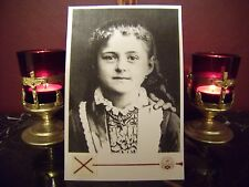 """St. Therese'  """"Little Flower"""" as a Child Large Holy Card w/Relic."""