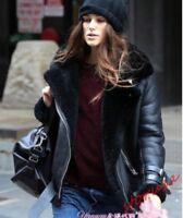 Womens Faux Leather Fur Winter Warm Shearling Bomber Jacket Punk Biker Coats