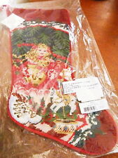 Sferra Needlepoint Christmas Stocking PINK DOLL With BEAR Holiday Girl's - NEW!