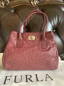 Furla Ostrich Embossed Leather Tote Bag Purse MWT