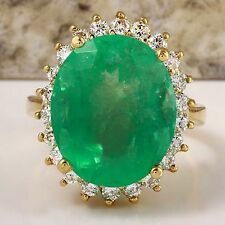 Estate 13.00Ct Natural Emerald & Diamond 14K Solid Yellow Gold Ring