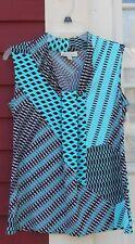 Dana Buchman Blue/Black Sleeveless Pleated Polyester/Spandex Blouse Small (MINT)