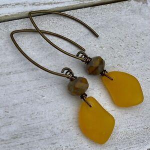 Min Favorit Saffron Sea Glass Czech Glass & Antique Brass Artisan Drop Earrings