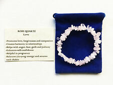 Rose Quartz Bracelet Crystal Gemstone Chip Beads Stretch 'BUY 3 GET 1 FREE'