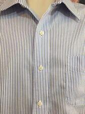 Lauren Ralph Lauren SZ 16, 34/35, Button Front, Spread Collar, White Blue Stripe