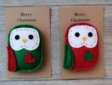 Cute Handmade Felt Owl brooch - 6cm tall on card for gift, Christmas colours