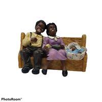 Black African American Man Woman & Baby Church Pew Resin Figurines Vintage