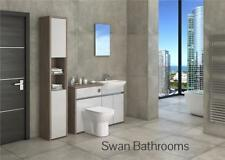 DRIFTWOOD / LIGHT GREY GLOSS BATHROOM FITTED FURNITURE WITH TALL UNIT 1600MM