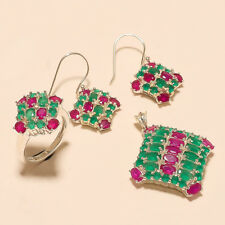 Natural Ruby Emerald Ring Earrings Pendant 925 Sterling Silver Wedding Jewelry