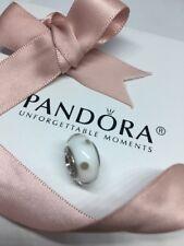 Genuine PANDORA Charm White Glass & Grey Polka Dots Murano Bead  Retired  790602