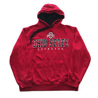 VTG 90s Ohio State Hoodie Mens Large Buckeyes College Stitched Sweatshirt Red OG