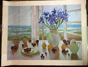 Rare S. Burkett Kaiser Late Afternoon Irises Signed HCNumbered Print Large