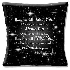 "Ellie Goulding 16""x16"" 40cm Cushion Cover 'How Long Will I Love You?' Song Lyric"