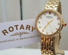 NEW ROTARY Ladies Watch Gold plated with real RUBIES crystal case RRP£189 Boxed