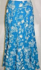Linea Domani Maxi Skirt Embroidered Peasant Long Full Turquoise Blue White sz 6