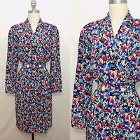 Vintage 80s Liz Claiborne 40s Style Floral Sheath Dress Size Small/Medium