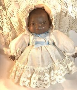 """Baby Doll Of Color Sitting Vintage Handmade Fabric And Rubber Black, Brown 11"""" T"""