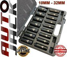 "1/2"" Drive Metric Deep Impact Socket Set 16 Piece 10-32mm in Case Garage Quality"