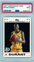 KEVIN DURANT 2007-08 Topps Rookie Card RC #2 PSA 9 Mint Seattle Supersonics