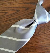 """Ralph Lauren Mens Purple Label Luxury Silk Tie Gray & White Striped Satin 59"""" L"""