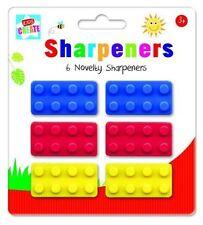 6 Novelty Pencil Sharpeners Shape of a Lego Building Brick Kids Party Bag Filler