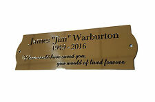 """10"""" x 2"""" Curve end design. Solid Brass Plaque/Name plate. Deep Engraving"""