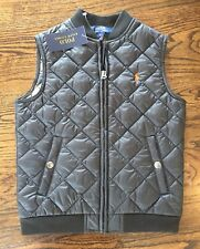 NWT Polo RALPH LAUREN Boys 6 Vest Jacket Black PONY Camo Inside