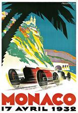 AV35 Vintage 1935 Monaco Grand Prix Motor Racing Poster Art Re-Print A4