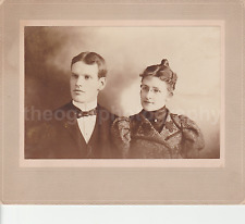 YOUNG COUPLE From Long Ago WOMAN MAN Found Photo bw FREE SHIPPING Portrait 7614