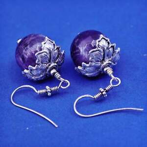 Vintage sterling 925 silver handmade leaf earrings with grape amethyst beads