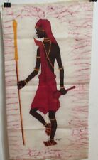 A.B. SCOMAU AFRICAN WOMAN WITH A SPEAR ORIGINAL BATIK PAINTING 1984