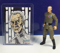 Grand Moff Tarkin Sketch Card & Action Figure Star Wars Power of the Force POTF