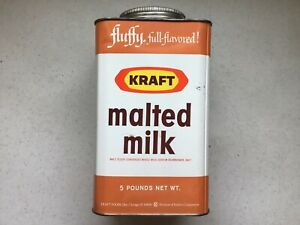 LOOK! A VERY NICE Vintage KRAFT Malted Milk Tin Can Kraft Cheese