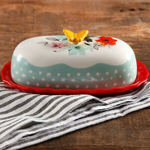 """The Pioneer Woman Flea Market Floral 6.4"""" Butter Dish"""