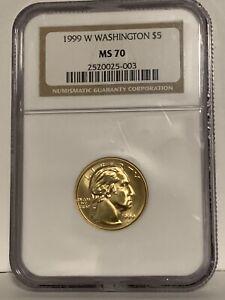 1999 W Washington Commemorative Gold $5 NGC MS 70