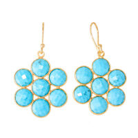 925 Solid Sterling Silver Gold Plated Turquoise Earrings
