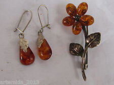 NATURAL OLD ANTIQUE Silver Set of BALTIC AMBER BROOCH & EARRINGS COGNAC Color