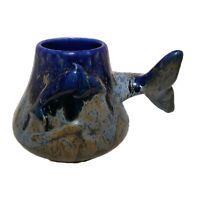 Doug Wylie Dolphin Tail Coffee Mug Blue Art Pottery San Francisco CA Drip Glaze