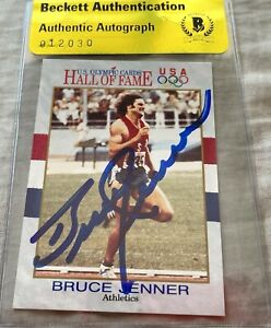 Bruce Jenner autographed signed autograph 1991 US Olympic Hall of Fame card BAS