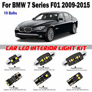 19pcs Super White Bulbs LED Interior Light Kit For BMW 7 Series F01 2009-2015