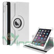 Pellicola+Custodia eco pelle Rotante 360° stand per iPad Air 2 2014 cover BIANCA