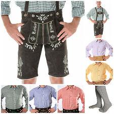 German Oktoberfest Trachten 4 pcs Set (Lederhosen+Suspenders+Shirt+Socks) *SID